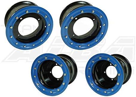 Compatible with Honda Rear 9x8 Front 10x5 3+2 Black//Blue TRX 450R TRX 400EX Beadlock Set of 4 Wheels Rims
