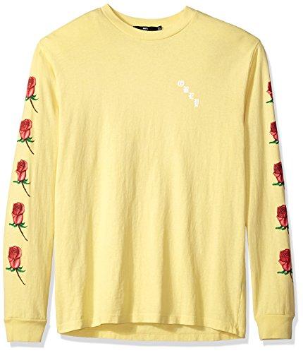 Obey Men's Airbrushed Rose Dyed Long Sleeve Tshirt, Dusty Lemon, XL ()