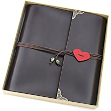 """Scrapbook Album, """"Love"""" Vintage Leather Photo Album, Black Pages Memory Book with Scrapbooking Supplies and Storage Box, Birthday Wedding Anniversary Gift for Dad Mom Men Women Couple Girl Boy, Large"""