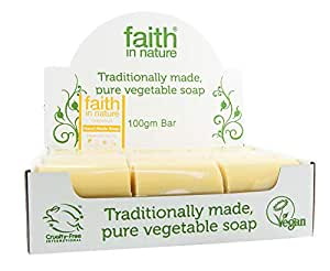 Faith in Nature All-Natural Bar Soap, Grapefruit (100 gram Bars, Bulk Pack of 18); Pure Hand and Body Soap Handmade w/Citrus Essential Oils, Vegan and Cruelty-Free