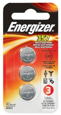 Energizer Battery 357BPZ-3 Watch/Calculator Button Cell Battery with Zero Mercury - Card/3 (Pack of 10) total of 30 batteries.