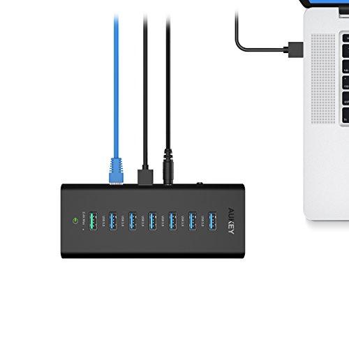 AUKEY Powered USB Hub with 6 USB 3.0 Ports, 1 Ethernet ...