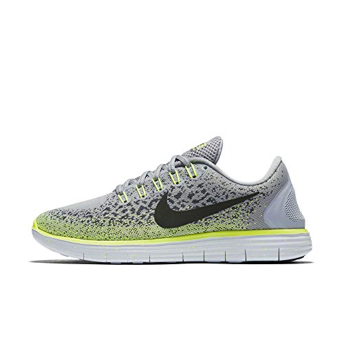Nike Womens Free RN Distance Shield Running Shoes sz 7 Wolf Grey/Black-Dark Grey- Volt