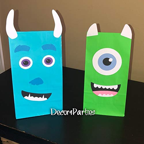 Monsters Inc Mike Wazowski and Sulley Party favor bags - Monsters inc Baby Shower Goodie Bags (12 bag count) ()