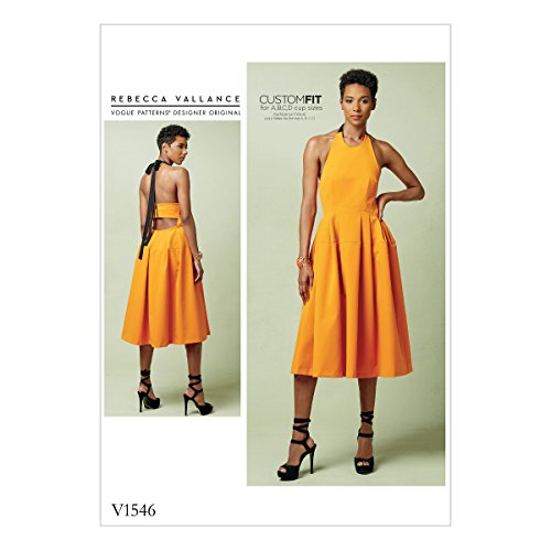 Vogue Patterns V1546 Misses' Lined Pleated Halter Dress with Neck Tie Sewing Pattern, Size A5 - Halter Necktie