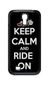 Cool Painting keep calm and ride on Snap-on Hard Back Case Cover Shell for Samsung GALAXY S4 I9500 I9502 I9508 I959 -794