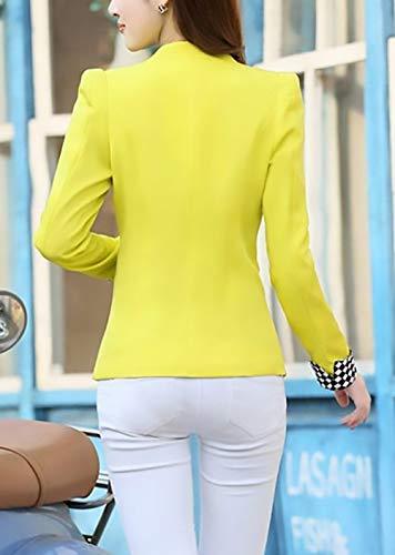 Lunga Autunno Primaverile Giallo Cappotto Rotondo Donna Casual Eleganti Ragazza Giacche Blazer Fit Collo Fashion Manica Ufficio Single Da Corto Tailleur Breasted Cardigan Giacca Chic Slim r7OrxSFn