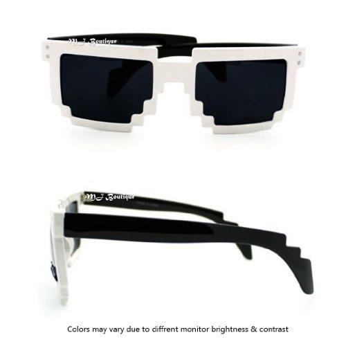 Block Pixelated Sunglasses 8-Bit Pixel Video Gamer Geek Costume Party ()