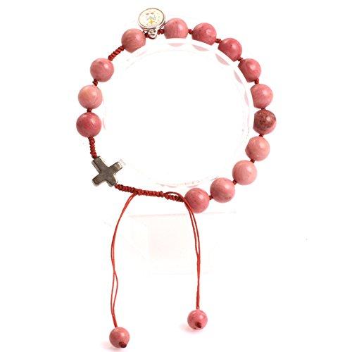GEM-inside 8mm Red Rhodochrosite Handmade Catholic Christian Prayer Rosary Beads Cross Bracelets Adjustable Jewelry