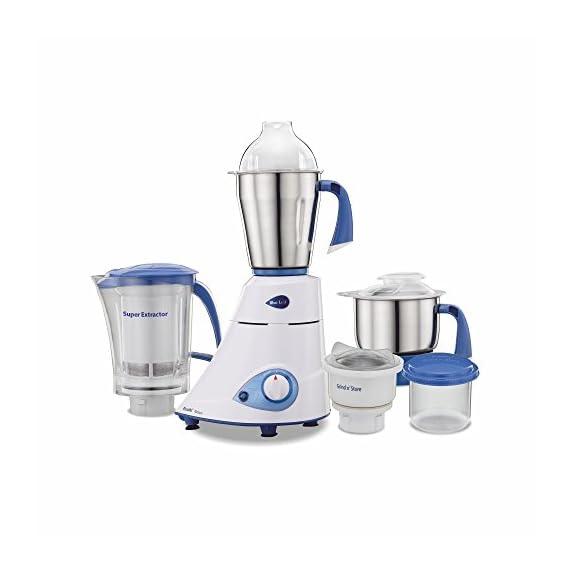 Preethi Blue Leaf Platinum MG 139 Mixer Grinder, 750W, 4 Jars (White and Blue) 1