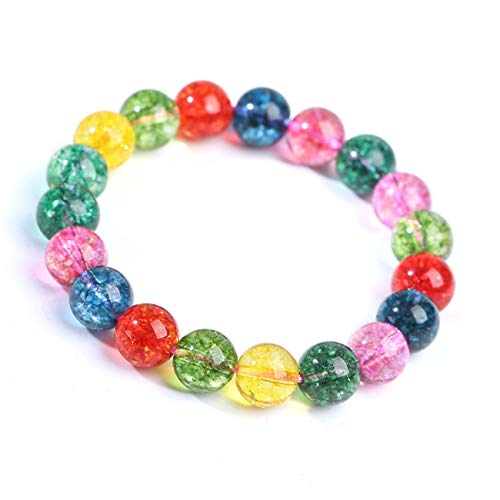 (SL SweetLove Handmade Multicolor Candy Stone Healing Bracelet 8mm Round Bead Stretch Bracelets 6.5-7'' for Women Girls)