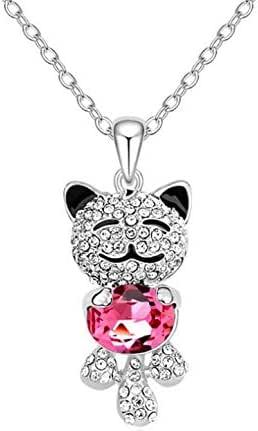 European fashion crystal cat pendant necklace