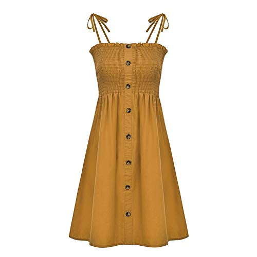 four- Spaghetti Strap Women Short Dress Buttons Ruched Plus Size Summer Sexy Solid Female Vestidos,Ginger Yellow,M