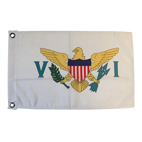 Polyester Country Flags Desk Outside Waving Parade 12-pack Hand or 12 inch x 18 inch Grommet (12 Inch x 18 Inch Grommet Flag) (Virgin Islands Miniature)