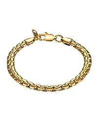 Box Chain Bracelet Men 316L Stainless Steel Gold/Black Gun Plated Hand Chain Bracelet Men Jewelry Gift for Him, PSH2849