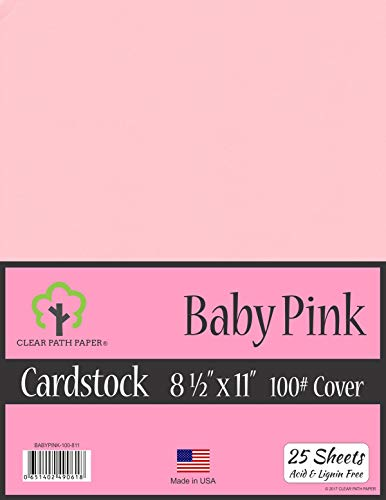 Baby Pink Cardstock - 8.5 x 11 inch - 100Lb Cover - 25 Sheets