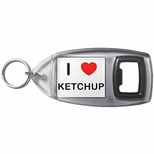 I Love Heart Ketchup - Plastic Bottle Opener Key Ring