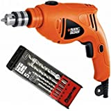 Black & Decker 480W 10mm Single Speed Hammer Drill + Pirhana 5 Pieces High Performance Masonry Drill Bits, HD4810-B5 + X56035-QZ
