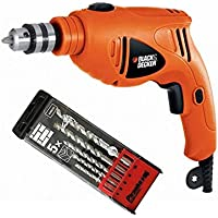 Black & Decker 480W 10mm Single Speed Hammer Drill + Pirhana 5 Pieces High Performance Masonry Drill Bits, HD4810-B5 + X56035-QZ