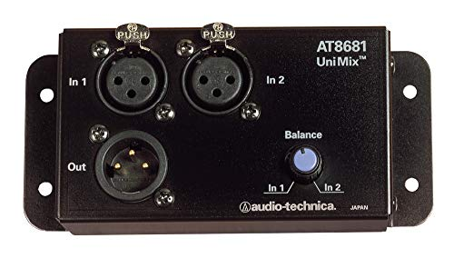 (Audio-Technica AT8681 Unimix 2-to-1 Microphone Combiner with Balance Control, Black)