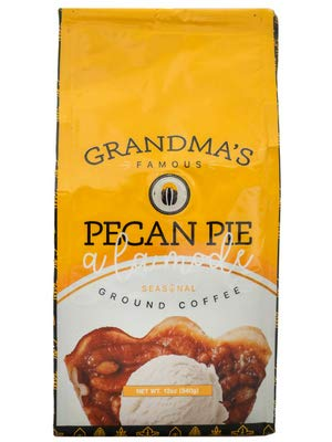 Gourmet Flavored Ground Coffee, Grandma's Famous Pecan Pie A La Mode, 12 OZ Bag, Limited Edition Holiday Flavors