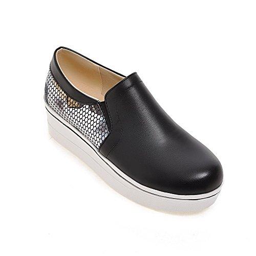 Allhqfashion Womens Tirer Sur Pu Rond Fermé Toe Chaton Talons Assortis Couleur Pompes-chaussures Noir