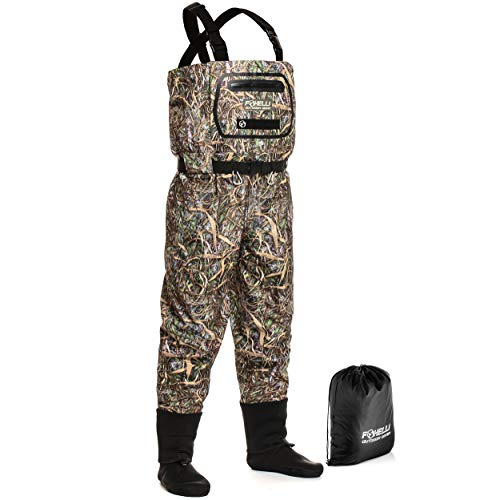 Foxelli Breathable Chest Waders - Camo Fly Fishing Waders for Men, Stockingfoot Waders with Neoprene Booties - Use for Fly Fishing, Duck Hunting, Emergency Flooding - 100% Waterproof & Lightweight
