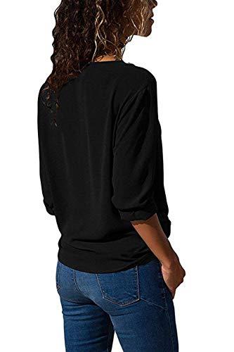 Mousseline Femme Longues Chemisiers Schwarz Elgante breal Casual Tops Confortable Mode Rglable Boutonnage Uni Shirt Manche Manches Chemise Simple Printemps V Cou g81wqdZ