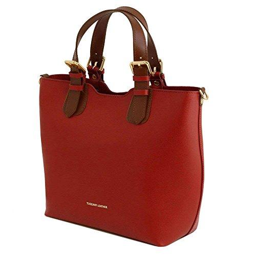 Tuscany Leather TL141696, Borsa a spalla donna Rosso rosso compact