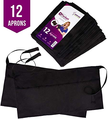 Premium Server Aprons (12 Pack) with 3 Pockets for for sale  Delivered anywhere in USA