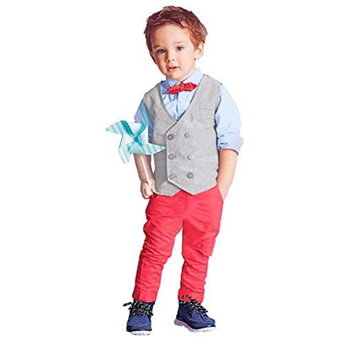 3pcs Baby Boys Kids Gentleman Suit Set,Bow Tie Shirt + Long Pants+Vest Overalls Clothes Outfits Set 2-7 Years Old (Red, 7T) by Aritone - Baby Clothes