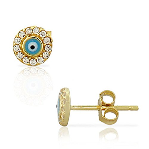 (925 Sterling Silver Yellow Gold-Tone White CZ Evil Eye Hamsa Small Womens Girls Stud Earrings)