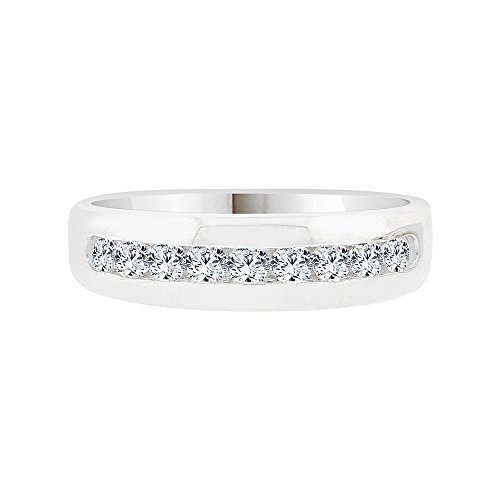 14k White Gold, Elegant Polished Lady's Band Ring Created CZ Crystals Size 8 by GiveMeGold