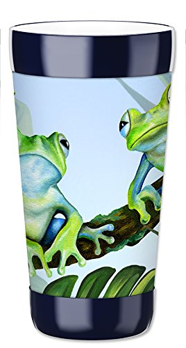 Mugzie 16 Ounce Travel Mug / Drink Cup with Removable Insulated Wetsuit Cover - Green Frogs ()