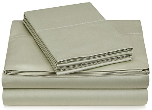 Pinzon 400-Thread-Count Egyptian Cotton Sateen Hemstitch Sheet Set - King, Sage ()