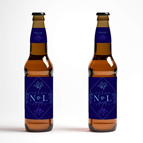 Wedding Engagement Announcement Blue Monogram Beer Bottle Labels - set of 12 labels