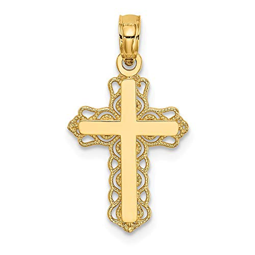 Jewel Tie 14K Yellow Gold Budded Cross Charm - (0.91 in x 0.47 in) (Tone Budded Cross)
