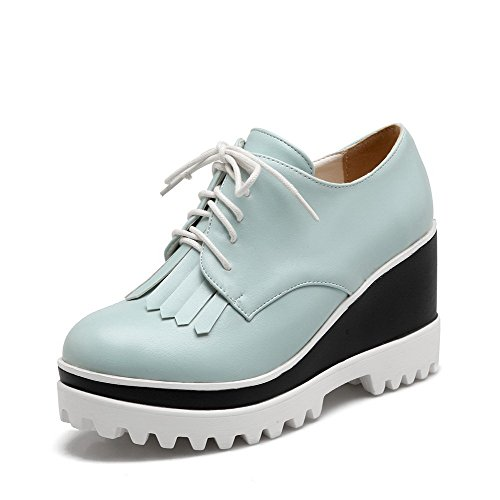 Shoes Blue Toe Heels Solid Round Closed Women's PU Lace up High Tassels Pumps VogueZone009 with nw64W0qPn