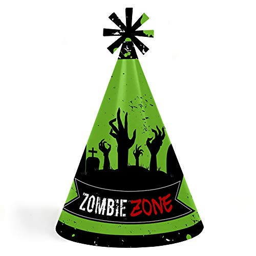 Zombie Zone - Cone Happy Birthday Zombie Crawl Party Hats for Kids and Adults - Set of 8 (Standard Size) for $<!--$12.99-->