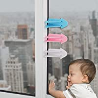 3 Pack Adhesive Sliding Door Lock for Patio, Closet, Windows, RV, Baby Proof Child Safety Latch