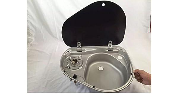 Barco Caravana Camper quemador cocina de gas estufa y fregadero Combo con tapa de cristal gr-600r: Amazon.es: Deportes y aire libre
