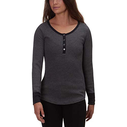 Columbia Women's Along The Gorge Thermal Henley Black/Dark Grey Heather Small