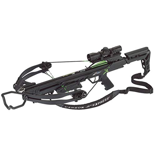 Carbon Express Blade X-Force Blade Crossbow Ready-to-Hunt Kit (Rope Cocker, 3 Bolt Quiver, 3 Crossbolts, Rail Lubricant, 3 Practice Points, 4x32x 40mm)