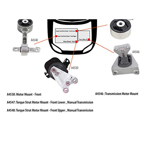 DNJ MMK1000 Complete Engine Motor & Transmission Mount Kit for 2006-2010 / Honda/Civic / 1.8L / 4PCS / Manual Trans.