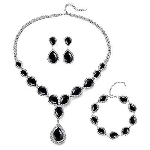 Paxuan Womens Silver/Gold Plated Teardrop Crystal Wedding Bridal Jewelry Set Pendant Necklace Drop Dangle Earrings Set (Silver Plated Black Crystal Necklace + Earrings + Bracelet)