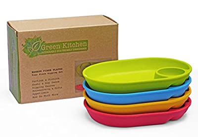 Green Kitchen Divided Kids Plates - Sectioned Bamboo Dishes From E4U - 4 Piece Set of Eco Friendly Wooden Snack Plates - Unbreakable Dishes for Kids and Spill Proof Fun Toddler Plates