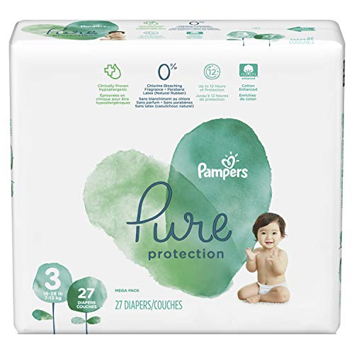 Free Diapers - Pampers Pure Disposable Baby Diapers, Hypoallergenic and Fragrance Free Protection, Size 3, 27 Count