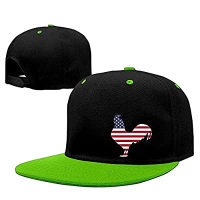 bevoicep Unisex American Flag Rooster Hip-Hop Flat Bill Snapback Caps Contrast Color Baseball Cap for Girls