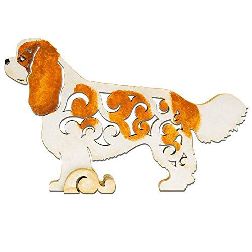 Cavalier King Charles Spaniel white/red dog figurine, dog statue made of wood (MDF), statuette hand-painted