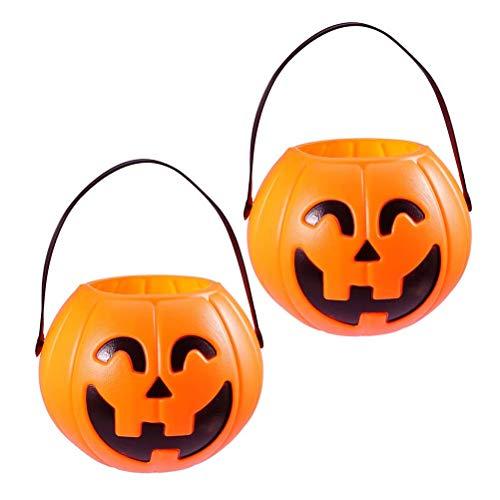 NUOBESTY 2 Pcs Halloween Pumpkin Candy Pail Holder Portable Pumpkin Bucket Snack Basket Bag Play Trick Treat Kids Child Adult -